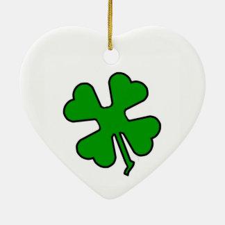Four Leaf Clover (Lucky) Ceramic Heart Decoration