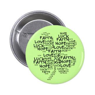 Four Leaf Clover Meaning: Hope, Faith, Love, Luck 6 Cm Round Badge