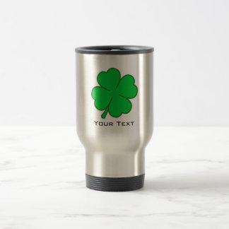 Four Leaf Clover; metal-look Stainless Steel Travel Mug