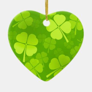 Four-Leaf Clover Pattern Ceramic Heart Decoration