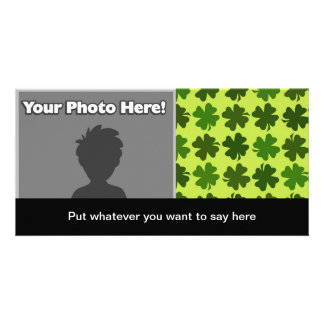 Four Leaf Clover Pattern Personalised Photo Card