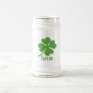 Four Leaf Clover Personalise Beer Stein
