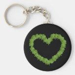 Four Leaf Clover Shamrock Heart Basic Round Button Key Ring