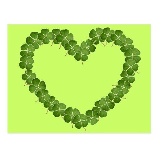 Four Leaf Clover Shamrock Heart Post Cards
