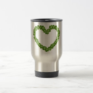 Four Leaf Clover Shamrock Heart Stainless Steel Travel Mug