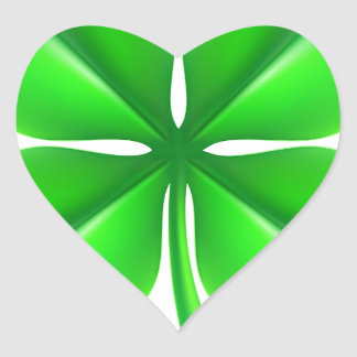 Four Leaf Clover Shamrock Heart Sticker