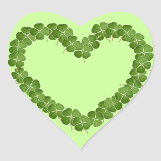 Four Leaf Clover Shamrock Heart Stickers