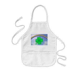 Four-leaf clover sheet with rainbow kids apron