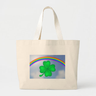 Four-leaf clover sheet with rainbow large tote bag