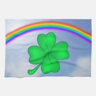 Four-leaf clover sheet with rainbow tea towel