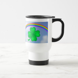 Four-leaf clover sheet with rainbow travel mug