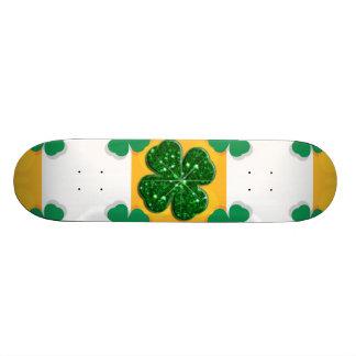 Four Leaf Clover Sparkle Hearts Skate Board