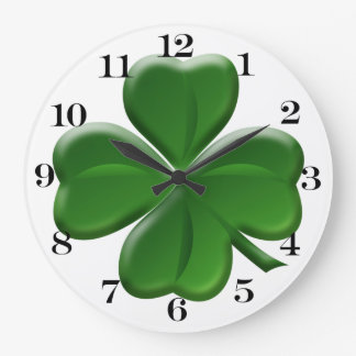 Four Leaf Clover - St Patrick's Day Button Large Clock