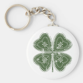Four Leaf Clover St. Patrick's Day Basic Round Button Key Ring