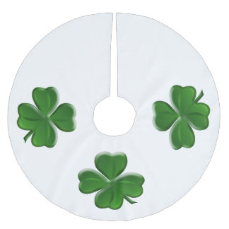 Four Leaf Clover - St Patrick's Day Symbol Brushed Polyester Tree Skirt