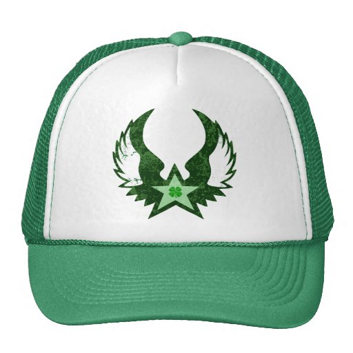 four leaf clover. winged star. mesh hats