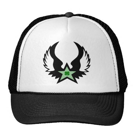four leaf clover. winged star. hats