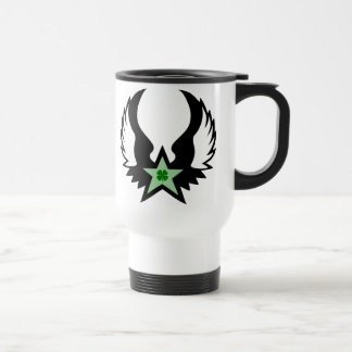 four leaf clover. winged star. stainless steel travel mug