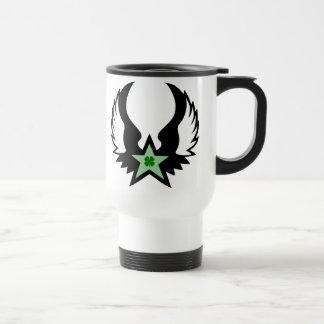 four leaf clover. winged star. stainless steel travel mug