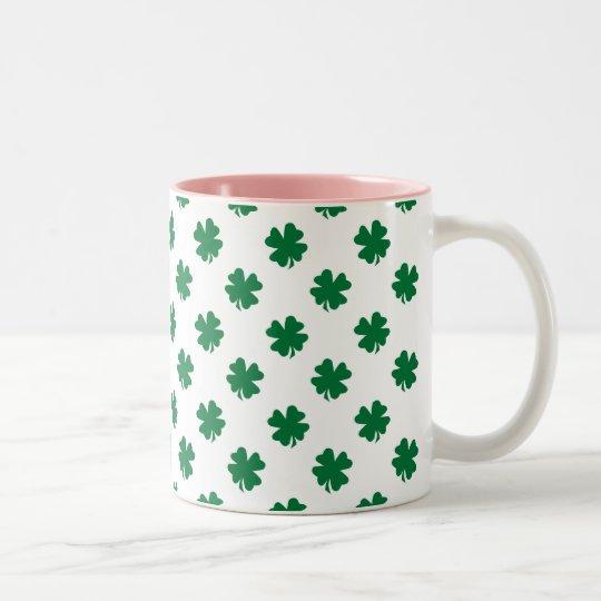 Four leaf clovers in green Two-Tone coffee mug