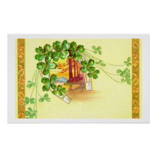 Four leaved clover and horseshoe poster