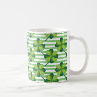 Four Leaves Clover St. Patrick's Day Pattern Coffee Mug