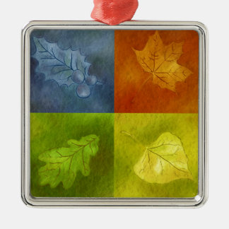 Four Leaves for Four Seasons Silver-Colored Square Decoration