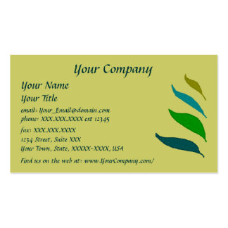 Four Leaves -green writing- business card template
