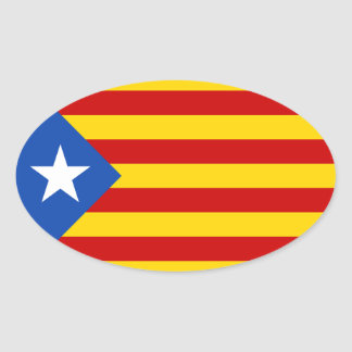 "FOUR ""L'Estelada Blava"" Catalan Independence Flag Oval Sticker"