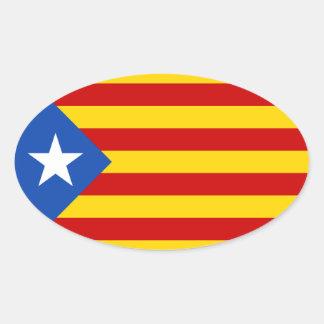 "FOUR ""L'Estelada Blava"" Catalan Independence Flag Oval Sticker"