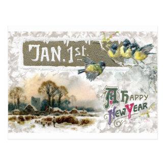 Four Little Birds Tweet Happy New Year Postcard