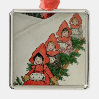 Four Little Girls on a Sledge Christmas Ornament