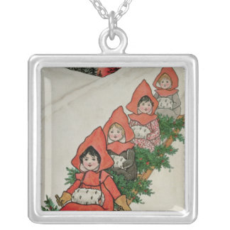 Four Little Girls on a Sledge Silver Plated Necklace