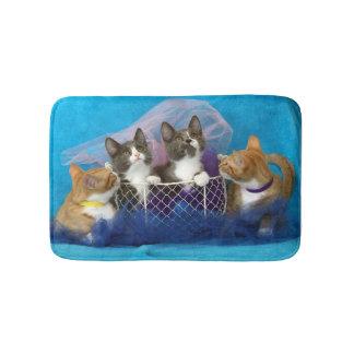 Four Little Kittens on Blue Bathmat