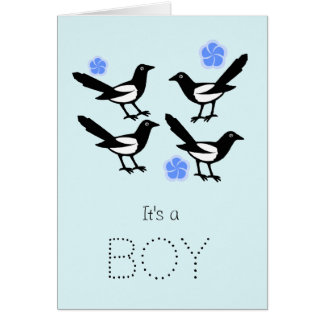 Four magpies baby it's a boy new baby card