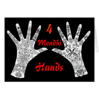 Four Mendhi Hands Card