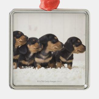 Four Mini Dachshund Christmas Ornament