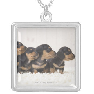 Four Mini Dachshund Silver Plated Necklace