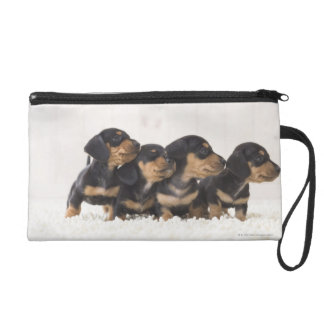Four Mini Dachshund Wristlet Clutches