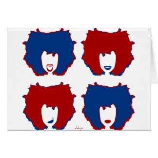 FOUR MOODS in RED and BLUE Greeting Card