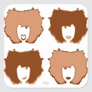 FOUR MOODS in TAN and BROWN Square Sticker