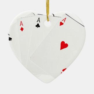 Four Of A Kind Aces Ceramic Heart Decoration