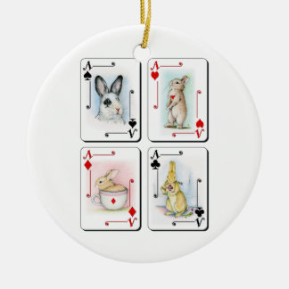 Four of a Kind Double-Sided Ceramic Round Christmas Ornament