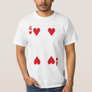 Four of Hearts Playing Card T-Shirt
