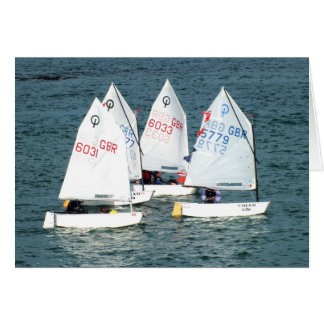 Four Optimist sailing boats Greeting Card