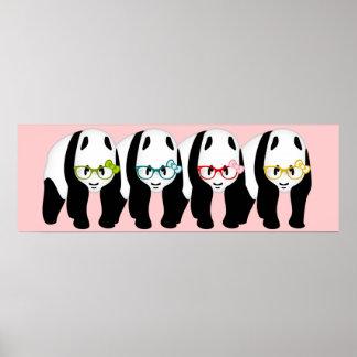 Four panda bears wearing glasses poster