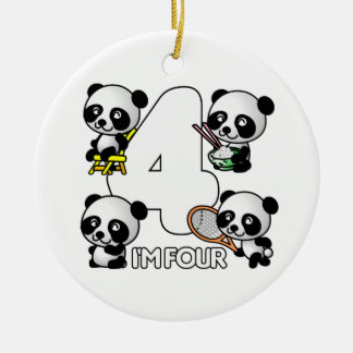 FOUR PANDAS ornament - customize