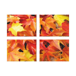 Four Panel nature photography prints Leaves Stretched Canvas Prints