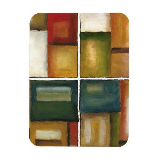 Four Paneled Painting by Jennifer Goldberger Rectangular Photo Magnet