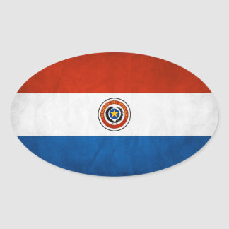 FOUR Paraguay National Flag Oval Sticker